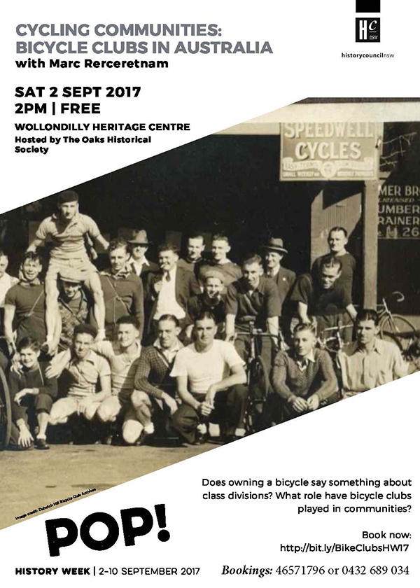 Bicycle Clubs in Australia with Mark Rerceretnam @ Wollondilly Heritage Centre & Museum | The Oaks | New South Wales | Australia