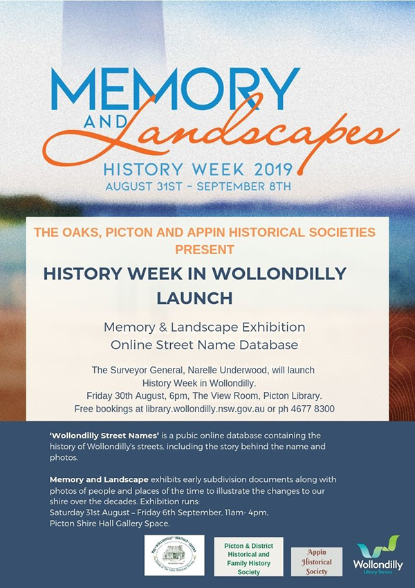 History Week in Wollondilly @ The View Room, Picton Library